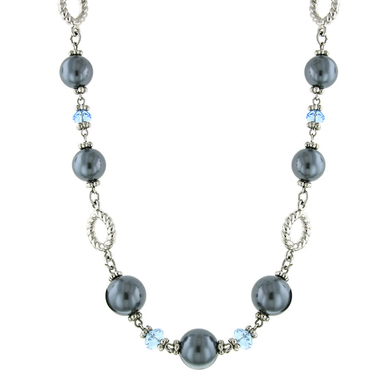 Silver-Tone Light Blue Bead and Grey Costume Pearl Strand Necklace 18 In