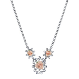 Silver-Tone Crystal and Pink Porcelain Rose Necklace 16 In Adj