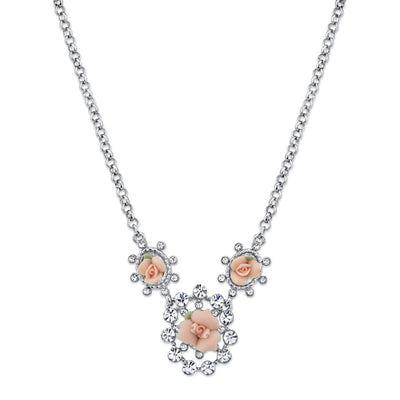 Silver Tone Crystal And Pink Porcelain Rose Necklace 16   19 Inch Adjustable