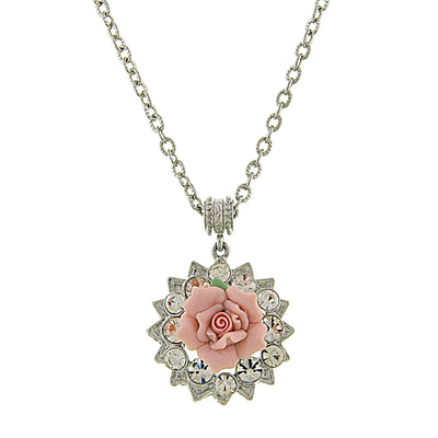 Silver-Tone Crystal And Pink Porcelain Rose Pendant Necklace 16 - 19 Inch Adjustable