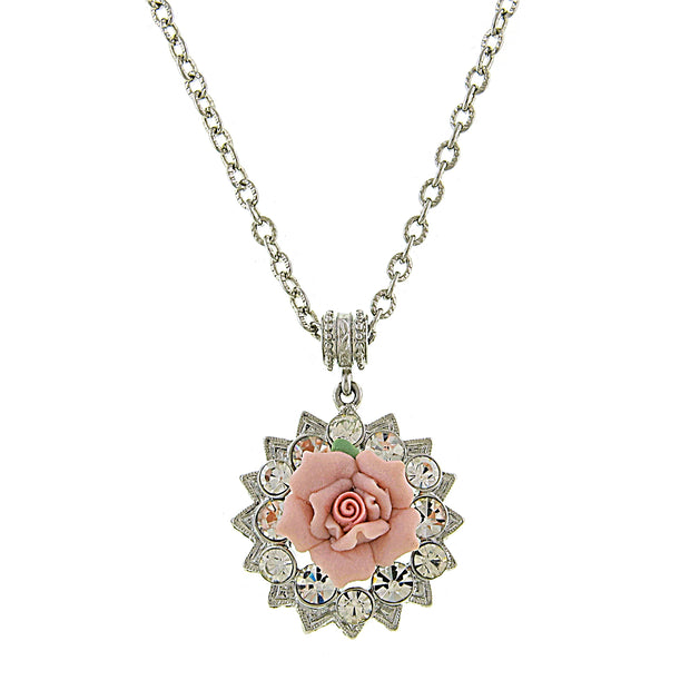 Silver-Tone Crystal and Pink Porcelain Rose Pendant Necklace 16 In  Adj