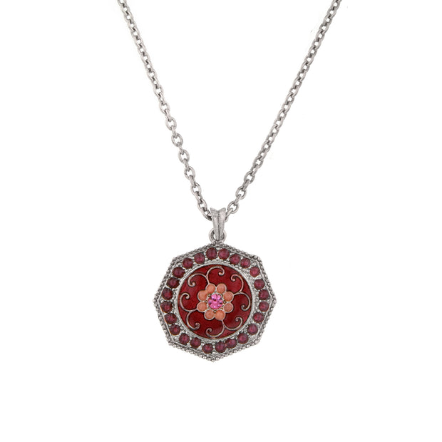 Silver-Tone Fuschia Amethyst Enamel Pendant Necklace 16 - 19 Inch Adjustable