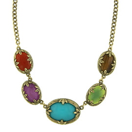 Fashion Jewelry - Brass Tone Multi Color Necklace