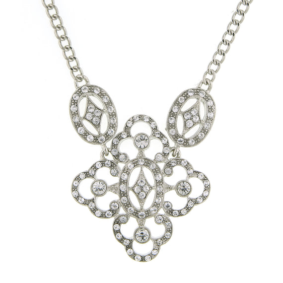 1928 Jewelry: 1928 Jewelry - Silver-Tone Crystal Filigree Pendant Necklace