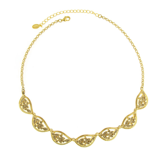 Fashion Jewelry - Gold-Tone Brown Crystal Leaf Collar Necklace