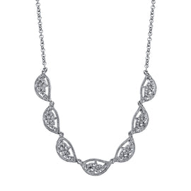 1928 Jewelry: 1928 Jewelry - Silver-Tone Crystal Leaf Collar Necklace