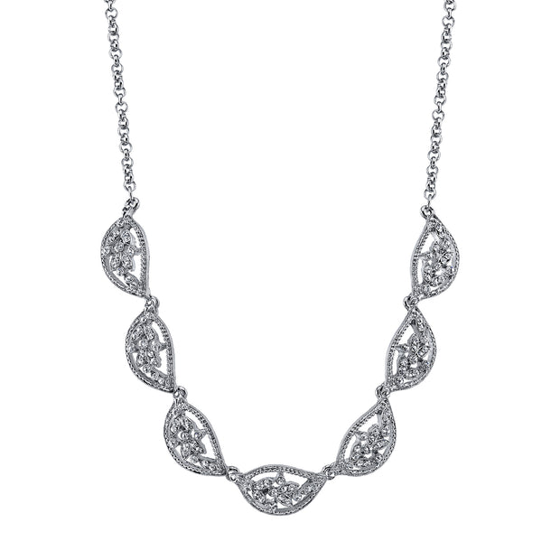 Silver-Tone Crystal Leaf Collar Necklace 16 - 19 Inch Adjustable