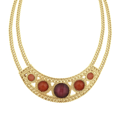 Gold-Tone Mixed Berry Bib Collar Necklace 16 - 19 Inch Adjustable