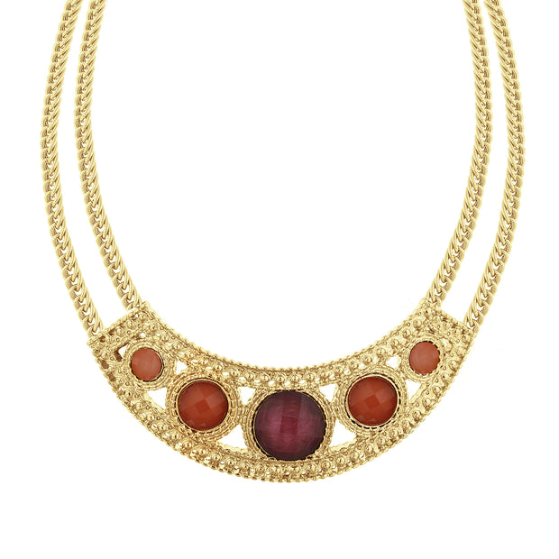 Gold-Tone Mixed Berry Bib Collar Necklace 16 In Adj