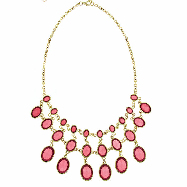 Gold-Tone Rose Faceted Bib Necklace 16 - 19 Inch Adjustable