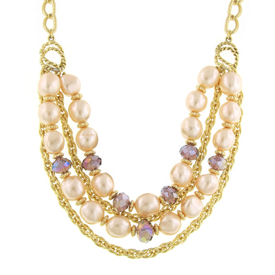 Gold-Tone Pink Costume Pearl Purple AB Layered Necklace 16 In Adj