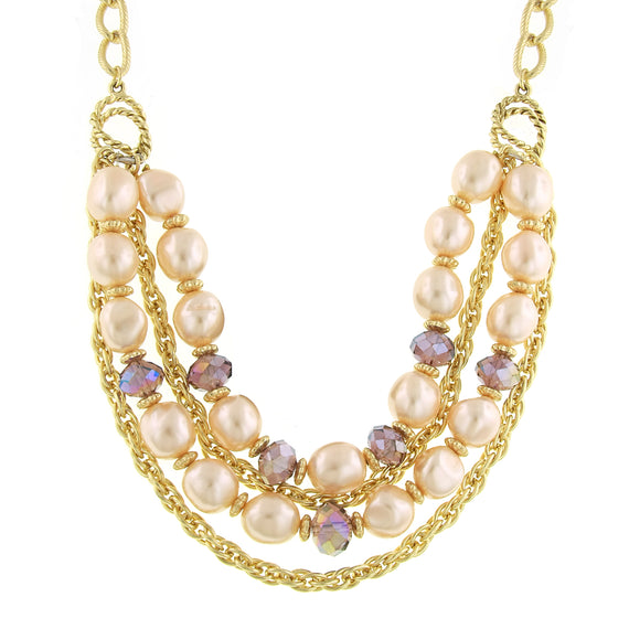 Signature Gold-Tone Simulated Pink Pearl and Purple Layered Necklace