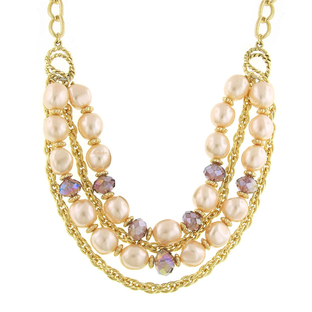 Gold-Tone Pink Costume Pearl Purple Ab Layered Necklace 16 - 19 Inch Adjustable