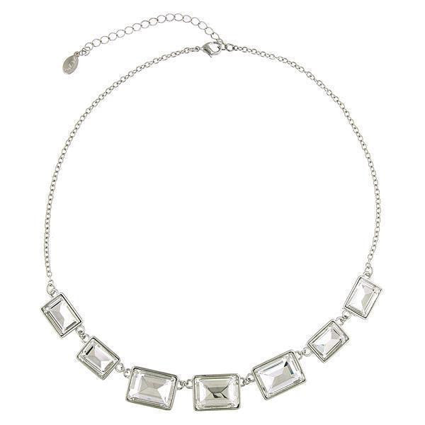 2028 Silver-Tone Crystal Rectangle Station Collar Necklace 16 - 19 Inch Adjustable