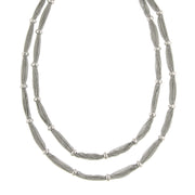 Silver Tone Double Strand Station Chain Necklace 16.5 - 19.5 Inch Adjustable