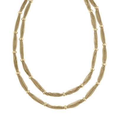 Gold-Tone Double Strand Station Chain Necklace 16.5 - 19.5 Inch Adjustable