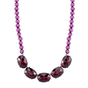 Gold Tone Double Strand Station Chain Necklace 16.5   19.5 Inch Adjustable Purple