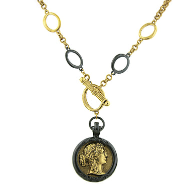 Fashion Jewelry - Antiquities Couture Black and Gold Tone Toggle Cameo Necklace