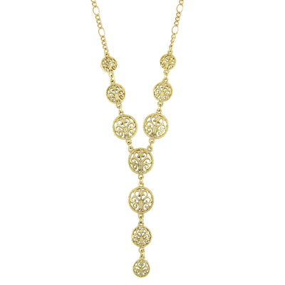 Gold-Tone Multi Round Open Lattice Y-Necklace 16 In Adj
