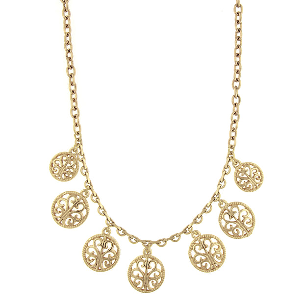 Gold-Tone Round Open Lattice Necklace 16 - 19 Inch Adjustable