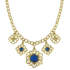 Gold-Tone Sapphire Blue Statement Drop Necklace 16 Adj.