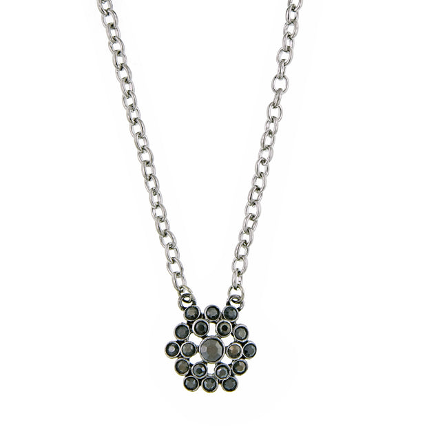 Silver-Tone Hematite Cluster Pendant Necklace 16 - 19 Inch Adjustable