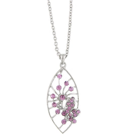 1928 Jewelry: 1928 Jewelry - Silver-Tone Light Purple Crystal Butterfly Pendant Necklace