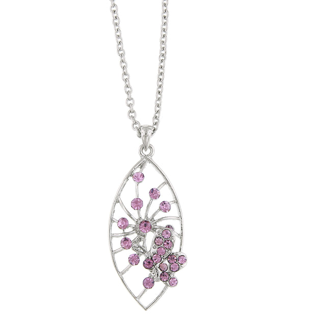 Silver-Tone Lt. Amethyst Pave Butterfly Necklace Pendant Necklace 16 In Adj