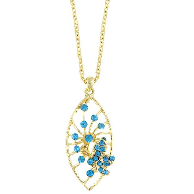 Gold Tone Aqua Pave Butterfly Pendant Necklace 16   19 Inch Adjustable