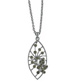 Fashion Jewelry - Hematite Tone Black Crystal Butterfly Pendant Necklace