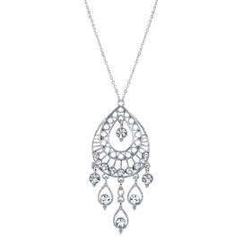 1928 Jewelry: 1928 Jewelry - Silver-Tone Crystal Filigree Teardrop Pendant Necklace