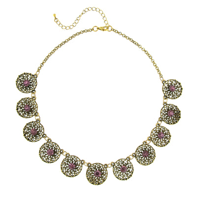 Brass Amethyst Filigree Flower Collar Necklace 16 In Adj