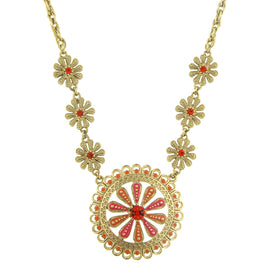 Fashion Jewelry - 2028 Coral Crystal Daisy Drop Necklace