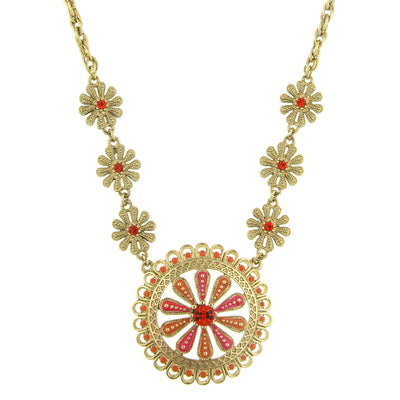 Gold-Tone Orange and Coral Enamel Flower Pendant Necklace 16 In Adj