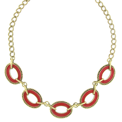Brass Pink Coral Enamel Oval Station Reversible Collar Necklace 16 - 19 Inch Adjustable