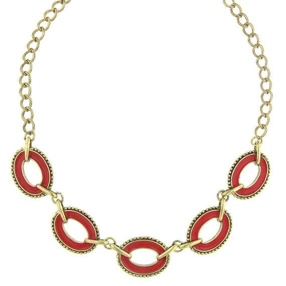 Fashion Jewelry - 2028 Pink Coral Enamel Link Necklace