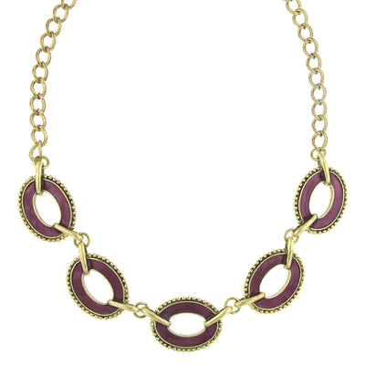 Brass Amethyst Enamel Oval Station Reversible Collar Necklace 16 - 19 Inch Adjustable