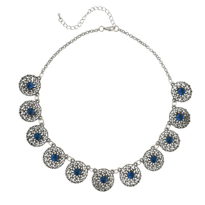 Silver Tone Montana Blue Filigree Collar Necklace 16   19 Inch Adjustable