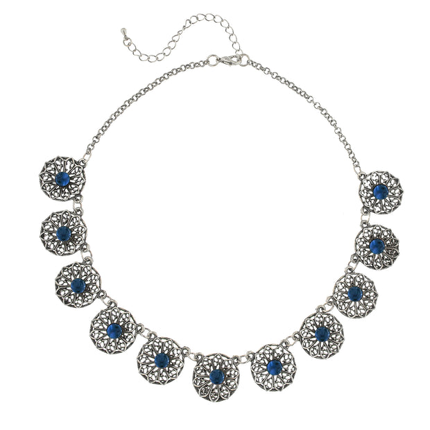 Silver-Tone Montana Blue Filigree Collar Necklace 16 - 19 Inch Adjustable
