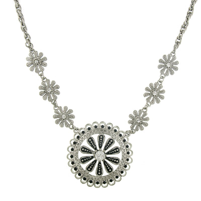 Silver-Tone Jet And Crystal Pendant Necklace 16 - 19 Inch Adjustable