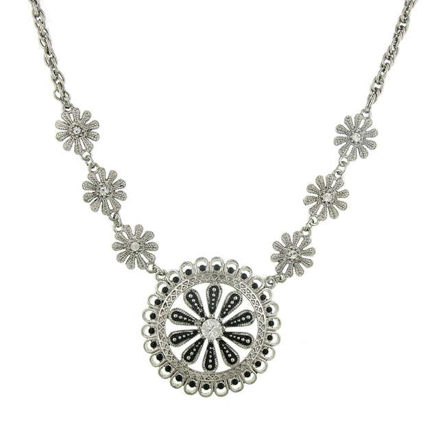 Silver-Tone Jet and Crystal Pendant Necklace 16 In Adj