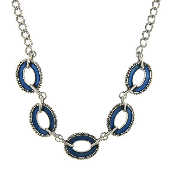 Fashion Jewelry - 2028 Silver-Tone Blue Enamel Reversible Oval Station Collar Necklace