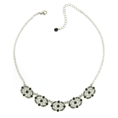 Silver-Tone Hematite Color Filigree Station Collar Necklace 16 In Adj