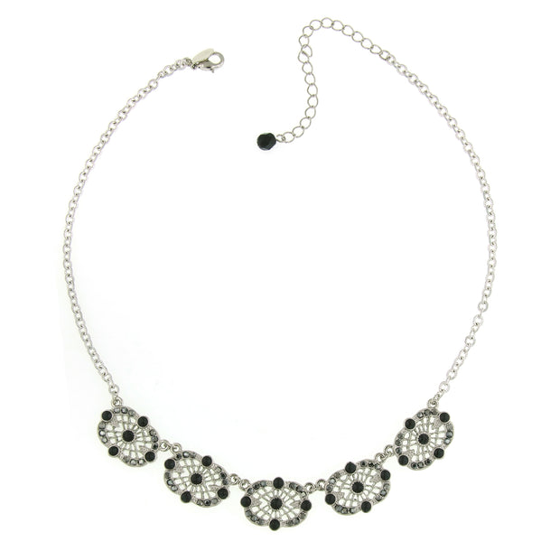 Silver-Tone Hematite Color Filigree Station Collar Necklace 16 - 19 Inch Adjustable