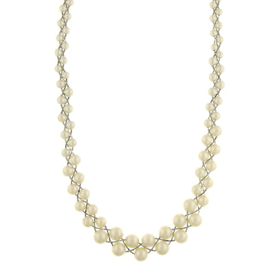 Silver-Tone Costume Cultura Pearl Graduated Necklace 18 In Adj