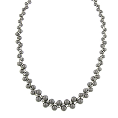 Silver-Tone Grey Costume Pearl Graduated Necklace 18 In Adj
