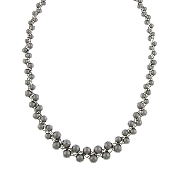 Signature Silver-Tone Grey Faux Pearl Graduated Necklace