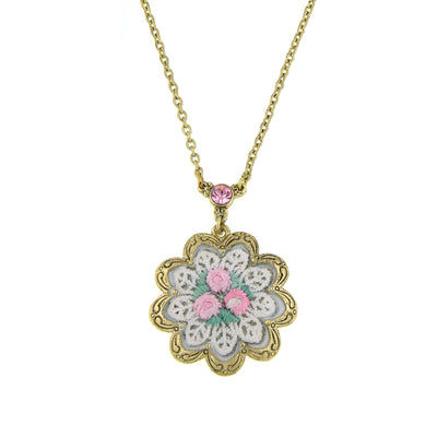Gold-Tone White And Pink Knit Flower Pendant Necklace 16 - 19 Inch Adjustable