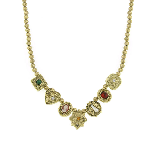 Gold-Tone Multi Color Charm Collar Necklace 16 In Adj