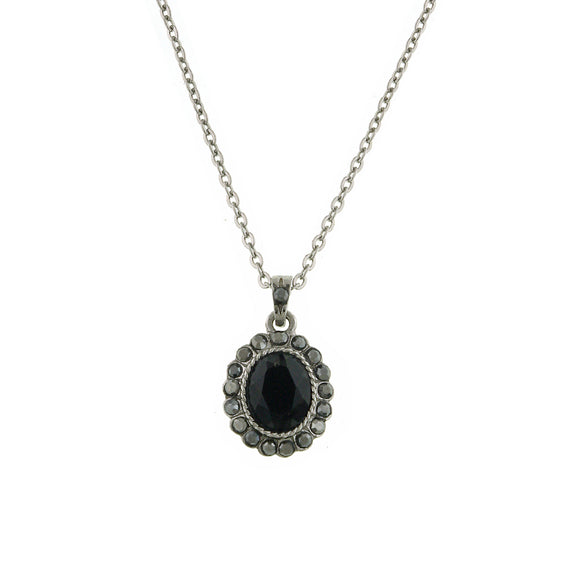 Fashion Jewelry - 2028 Hematite Jet Oval Pendant Necklace